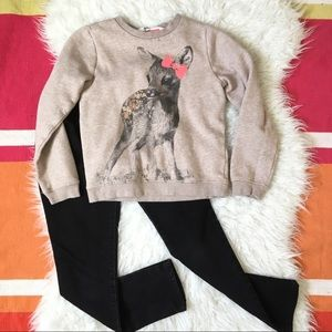 Taupe Deer Sweater Black Skinnies 6/7